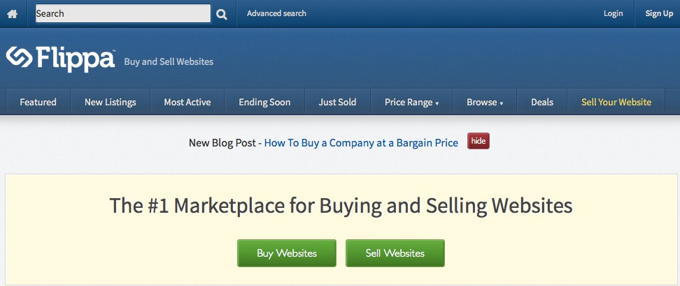 The place to go when you want to buy or sell a website