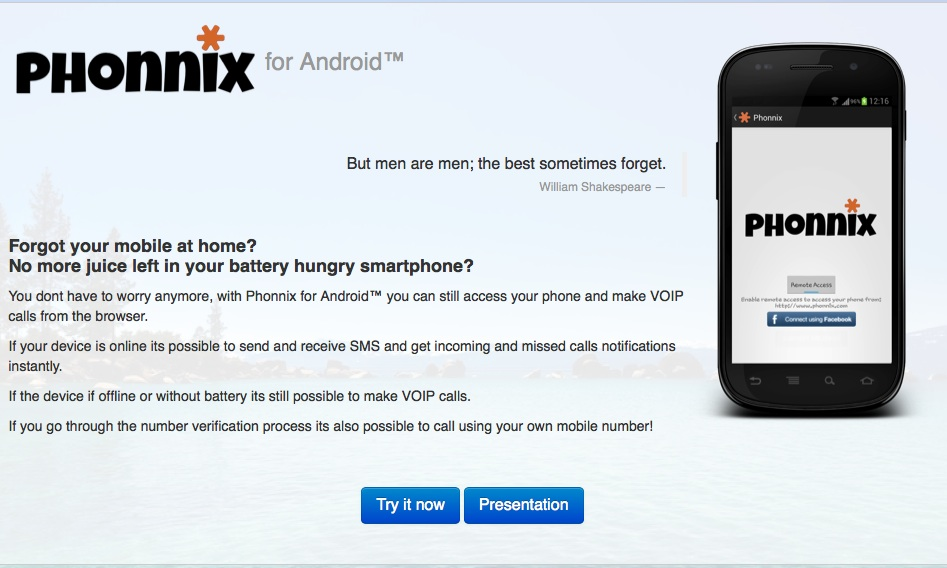 Forget your Android or out of juice? Holler for Phonnix